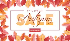 Autumn Sale Background Template avec la belle illustration de feuilles en vente de achat, bon, bannière de Web de promotion Images stock