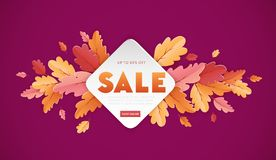 Autumn Sale Background Template met mooie bladerenillustratie voor het winkelen verkoop, bevorderingsaffiche en Webbanner Stock Fotografie