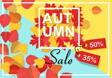 Autumn sale background template. Poster, card, label, banner design set. Layouts for shopping sale or promo poster and Stock Images