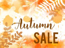 Autumn sale background. Watercolor  background with handwritten modern calligraphy text `Autumn sale`. Floral botanical leaves decoration. Sale promotion trendy Stock Photo
