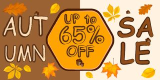 Autumn Sale Background y bandera con Autumn Leaves Abstract Vector Illustration que cae ilustración del vector