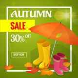 Autumn sale banner. Autumn sale flayer Design for shop. Autumn sale online store. Autumn sale Discount up to 30 off. Stock Images