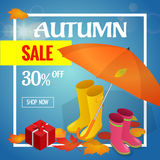Autumn sale banner. Autumn sale flayer Design for shop. Autumn sale online store. Autumn sale Discount up to 30 off. Stock Photo