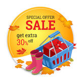 Autumn sale banner. Autumn sale flayer Design for shop. Autumn sale online store. Royalty Free Stock Photography