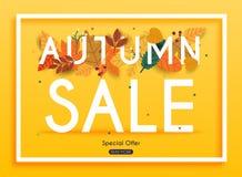 Autumn Sale Banner avec des feuilles, affiche, insecte Vecteur Illustratio illustration libre de droits