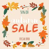 Autumn Sale Banner avec la feuille, affiche, insecte Illustration de vecteur Images libres de droits