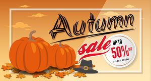 Autumn sale banner background template design Stock Photography