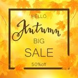 Autumn sale banner, beautiful yellow falling leaves Stock Photo