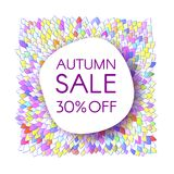 Autumn sale banner with a bunch of bright saturated leaves. Creative design templates Stock Photography