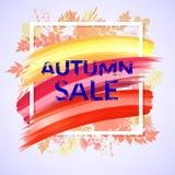 Autumn Sale Banner coloré avec le feuillage Images stock