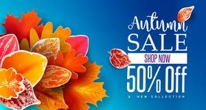 Autumn Sale Banner con las hojas que caen Imagenes de archivo