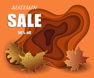 Autumn sale banner in cut paper style, mockup design discounted season, colorful yellow leaves on orange 3d background, vector. Autumn sale banner in cut paper vector illustration