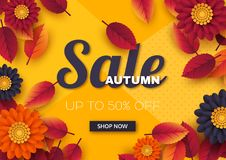Autumn sale banner with 3d leaves and flowers. Yellow background - template for seasonal discounts, vector illustration. Autumn sale banner with 3d leaves and vector illustration