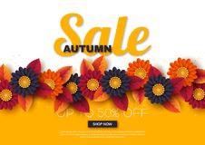 Autumn sale banner with 3d leaves and flowers. Yellow, white background - template for seasonal discounts, vector. Autumn sale banner with 3d leaves and flowers royalty free illustration