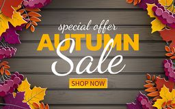 Autumn sale banner, 3d paper colorful tree leaves on wooden background. Autumnal design for fall season sale banner, special offer. Poster, flyer, web site royalty free illustration