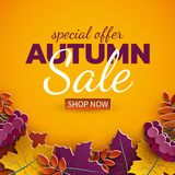 Autumn sale banner, 3d paper colorful tree leaves on yellow background. Autumnal design for fall season sale banner, special offer. Poster, flyer, web site royalty free illustration