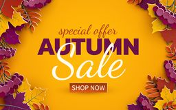 Autumn sale banner, 3d paper colorful tree leaves on yellow background. Autumnal design for fall season sale banner, special offer vector illustration