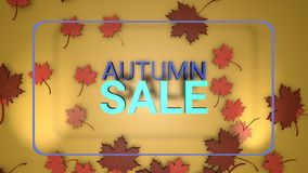 Autumn sale banner, 3d render paper colourful tree leaves on yellow background. Autumnal design for fall season sale banner, special offer poster, flyer, web royalty free illustration