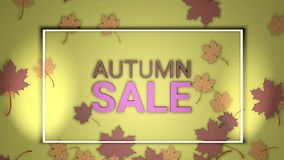 Autumn sale banner, 3d render paper colourful tree leaves on yellow background. Autumnal design for fall season sale banner, special offer poster, flyer, web stock illustration