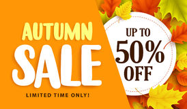Autumn sale banner design with discount label in colorful autumn leaves. Background for fall season shopping promotion. Vector illustration Stock Images