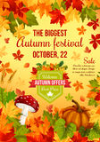 Autumn sale banner design of fall harvest holiday Royalty Free Stock Images