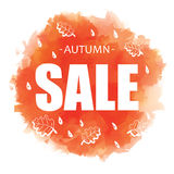 Autumn SALE banner design on watercolor background. Stock Images