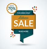 Autumn sale banner. Discount label Stock Photography