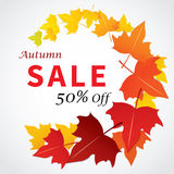 Autumn sale banner flat design for web and print Royalty Free Stock Photography