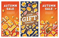 Autumn sale banner and gift voucher set. Royalty Free Stock Images
