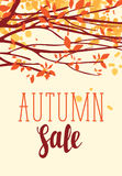 Autumn sale banner with inscription and branches Stock Photos
