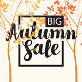 Autumn sale banner with inscription and trees. Vector banner with the inscription Autumn sale. Autumn landscape with autumn leaves on the branches of trees in a Royalty Free Stock Photography