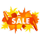 Autumn sale banner isolated on white background. Stock Photos