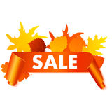 Autumn sale banner isolated on white background. Royalty Free Stock Images