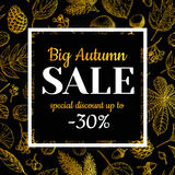 Autumn sale  banner with leaves and berry. Hand drawn fall. Autumn sale  gold banner with leaves and berry. Hand drawn fall  illustration with frame and Royalty Free Stock Photography