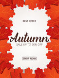 Autumn sale. Banner with maple leaves frame and trendy Autumn brush lettering.  Stock Photo