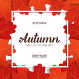 Autumn sale. Banner with maple leaves frame and trendy Autumn brush lettering.  Stock Images