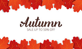 Autumn sale. Banner with maple leaves frame and trendy Autumn brush lettering.  Royalty Free Stock Photo