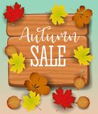 Autumn sale banner, paper colorful tree leaf maple, rowan leaves on wood texture background. Autumnal design for fall Royalty Free Stock Images