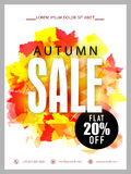 Autumn Sale Banner, Poster or Flyer design. Autumn Sale Banner, Sale Poster, Sale Flyer, Sale Vector. 20% Off, Sale Background. Vector Only Stock Photography