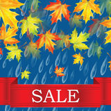Autumn sale. Autumn banner with raindrops and leaves of maple.Autumn sale Royalty Free Stock Images
