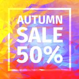 Autumn sale of 50% banner. Red, blue, yellow, purple triangular background. Creative design templates Royalty Free Stock Photo