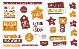 Autumn sale banner set. Flush sale, buy one get one free, vector. Autumn sale banner set. Flash sale, buy one get one free, vector illustration Stock Images