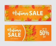 Autumn sale banner set with leaves. Can be used for shopping sale, promo poster, banner, flyer, invitation, website or greeting card. Vector illustration royalty free illustration