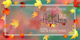 Autumn sale banner. Vector illustration with autumn leaves on a abstract green, red blurred background. Text autumn sale, special offer every thing. Yellow, red Royalty Free Stock Photo