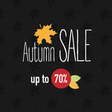Autumn sale banner. With yellow leaf Royalty Free Stock Photography