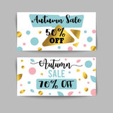 Autumn sale banners and ads web template set. Golen fall flyer. Vector illustrations for website and discount coupon Royalty Free Stock Image