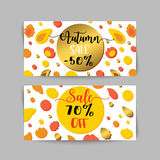 Autumn sale banners and ads web template set. Golen fall flyer. Vector illustrations for website and discount coupon Royalty Free Stock Photo