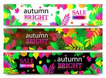Autumn sale banners. Vector illustration Royalty Free Stock Image