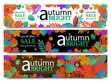 Autumn sale banners. Vector illustration Stock Images