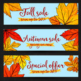 Autumn sale banners with golden and red leaves Stock Photos